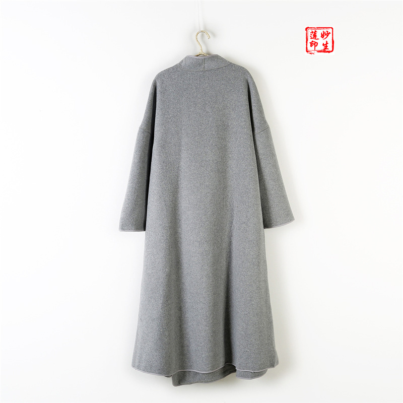 Couleur Manches Plus Chinois Style Hiver Gris De Longues Femmes Automne Long Manteau Laine Nouveau Solide 7ZPcw