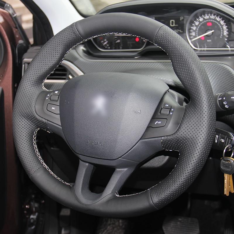 Cubierta del volante de cuero negro cosido a mano para el automóvil - Accesorios de interior de coche - foto 3
