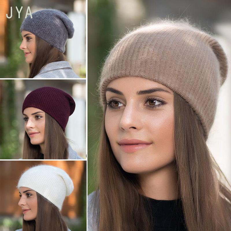 High Quality Knitted Cashmere Acrylic Winter Hats for Women Girls Solid  Color Fashion Casual Beanies for 67ab7e17945