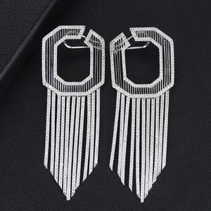 Image 3 - GODKI 58MM Luxury Long Tassels African Dangle Earrings For Women Wedding Cubic Zircon Crystal CZ Dubai Indian Bridal Earrings