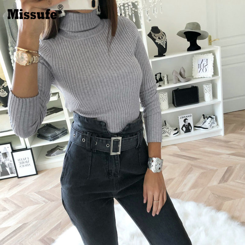 Missufe Long Sleeve Turtleneck Bodysuit Women Green Gray Slim Sexy   Jumpsuit   Autumn Winter Rompers Female Party Overall For Women