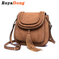 RoyaDong 2017 Shoulder Bags Small Crossbody Bag For Women Handbags PU Leather Rivet Tassel Women Messenger Bag With Weave