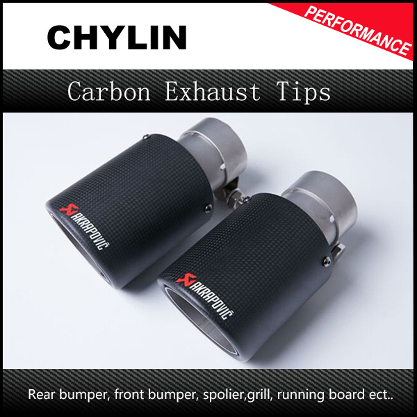 2pcs ID:57mm OD:101mm Akrapovic Dry Carbon Fiber Exhaust Tip/Muffler / 4 inch Universal Car Exhaust Muffler Tips (Model 57-101) 1pc black stainless steel car exhaust tip id 51mm 54mm 57mm 60mm 63mm od 89mm 101mm akrapovic carbon fiber exhaust tip dual