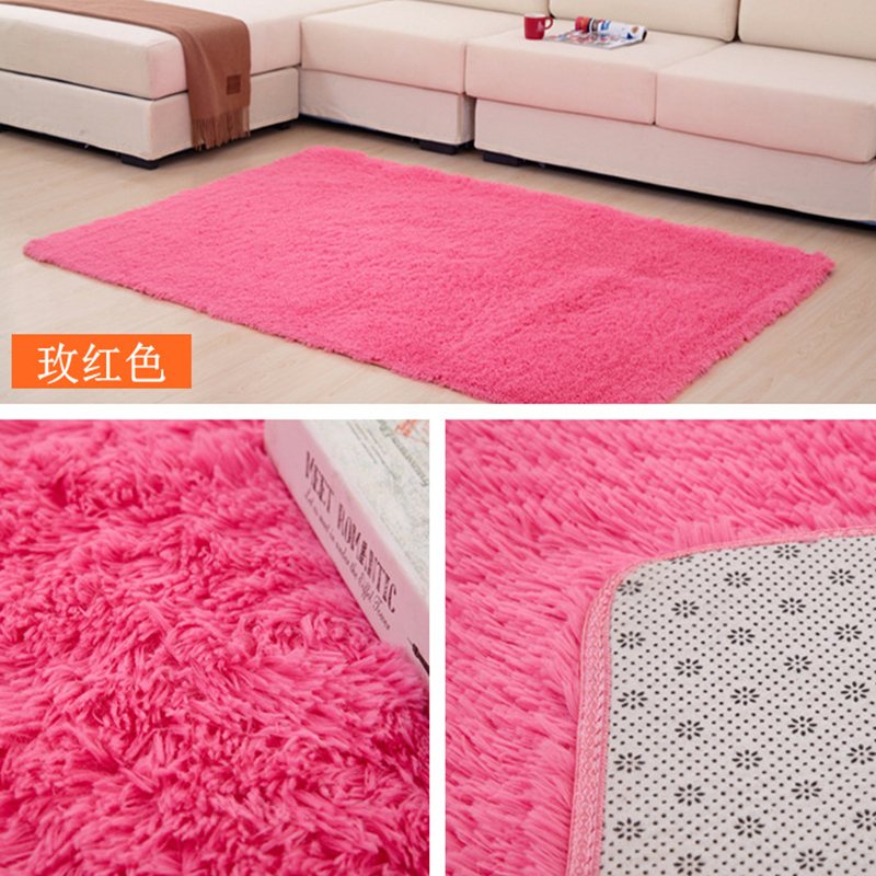 Home Textile Living Room Carpet Solid Mat Long Hair Rugs For Bedroom ...