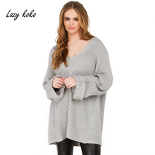Lazy KoKo 2017 New Plus Size Women Clothing Black Gray Solid Sexy Deep V-Neck Long Sweater Big Size Casual Loose Style Women Top