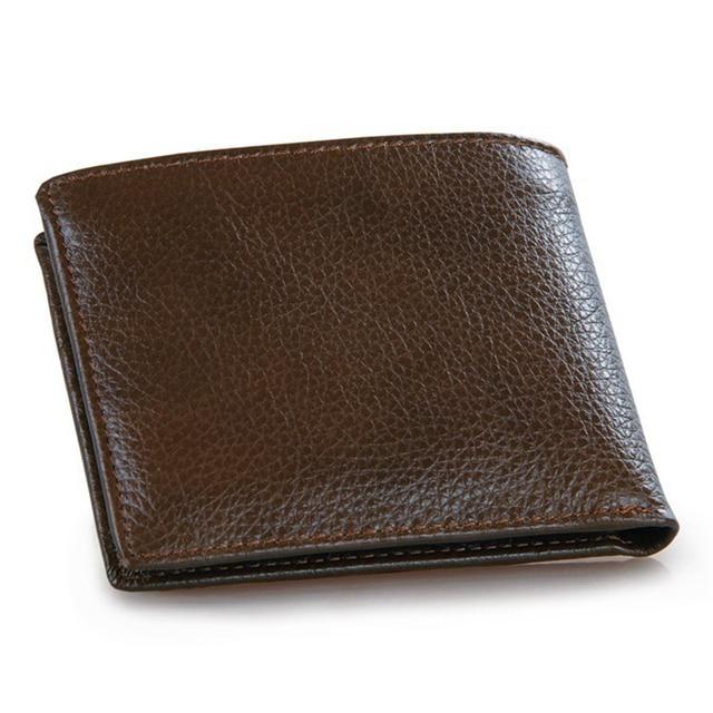 8cdf6e598460 Excelente Cuero Auténtico Caballo Loco Hombres Billetera Delgada Diseño  Simple Bolsa de Dinero Hombre monedero