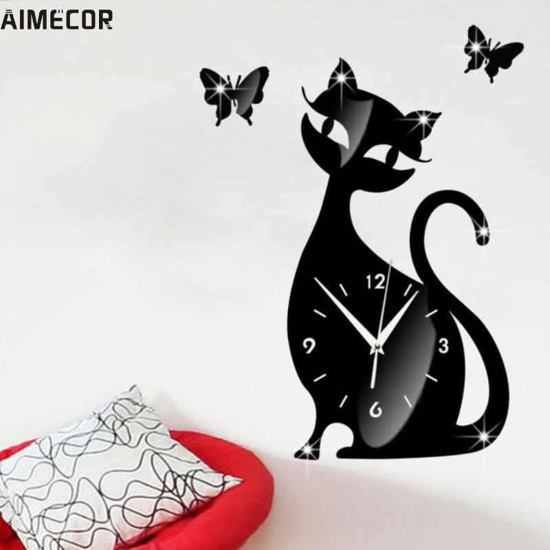 Aimecor Happy Home Cute Cat Butterfly Mirror Black Wall Clock Modern Design Home Decor Watch Wall Sticker #
