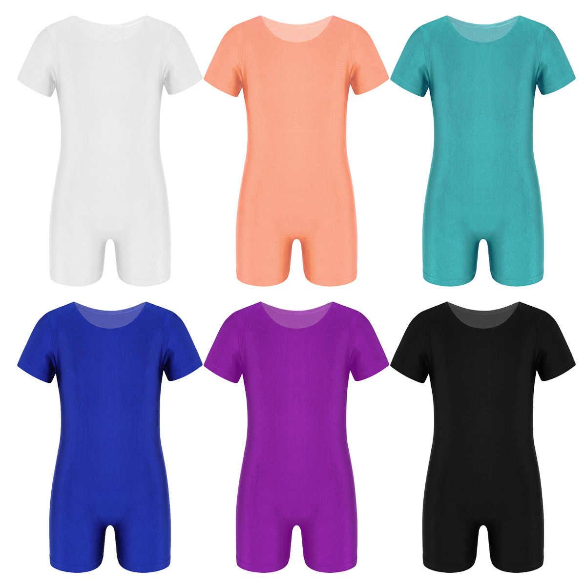 Anak-anak Anak-anak Gadis Balet Tari Senam Leotard Bodysuit Lengan Pendek Jumpsuit Unit Trust Renang Gym Penari Kompetisi Kostum