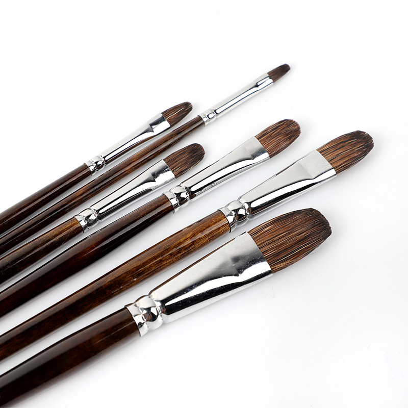 Watercolor Flower Marten Brush Round Head Set Long Rod Oil Brush Acrylic Pen Animal Hair Hand-painted  6 Pack Adult Paint Brush