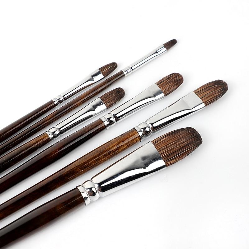 Watercolor Flower Marten Brush Round Head Set Long Rod Oil Brush Acrylic Pen Animal Hair Hand-painted  6 Pack Adult Paint Brush
