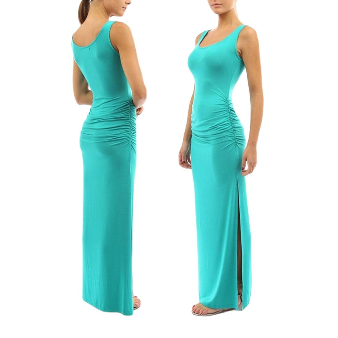 JIMMYHANK 2017 Women Summer Sleeveless O Neck Solid Wrinkled Bodycon Side Spilt Maxi Vest Dress