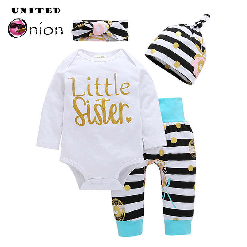 055cba1800aa Baby Girl 0-3 Years 4 Pcs Set Long Sleeve Letters Print Romper+Striped