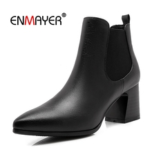 ENMAYER  Basic Pointed Toe Winter Boots Women Ankle for Genuine Leather Womens Size 34-39 LY154