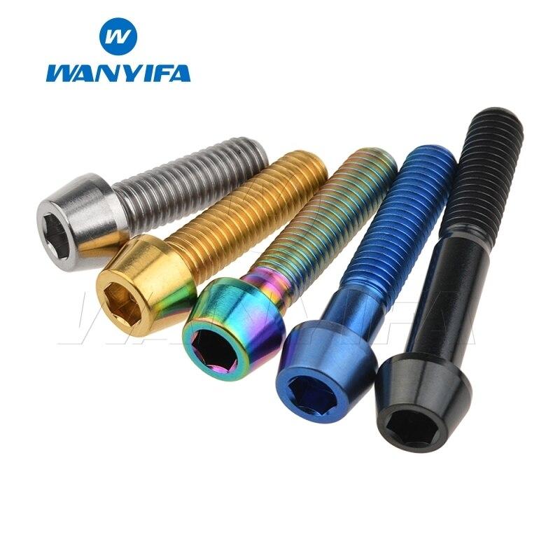 Wanyifa Titanium Bolt Screw M8x15 20 25 30 35 40 45 50 70mm Cone Head For Bicycle Frame