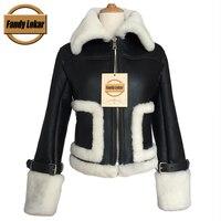 Fandy Lokar Brand Real Fur Coat Genuine Leather Jackets Women Sheepskin Coats Leather Jacket With Shearling