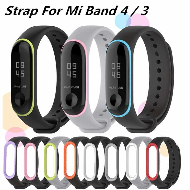Silicone Bracelet for xiaomi mi band 4 3 bracelet Pure Dual color Replacement Strap Mi Band 4 3 Miband 4 3 Wrist Straps band