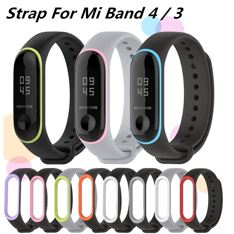 Mi Band 4 3 Sports Dual Pure Color Silicone Wrist Band Strap For Xiaomi Mi Band 4 3 Replacement Bracelet Miband 4 3 Straps
