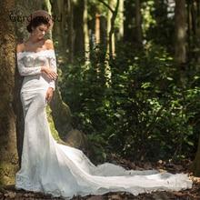 Gardenwed Long Sleeve Mermaid Lace Wedding Dress 2019 White Off Shoulder Wedding Gowns Court Train Bridal Dress Vestido De Noiva