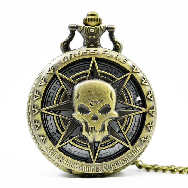 Unique hollow out skull pocket watch bronze Steampunk Skull Cartoon Anime Watch