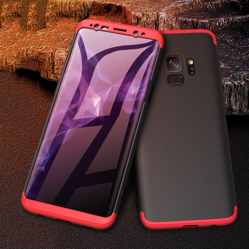 Shockproof Case for Samsung Galaxy S9 S10 Plus Case 3 In 1 Matte Hard PC Cover phone case clear view smart mirror case