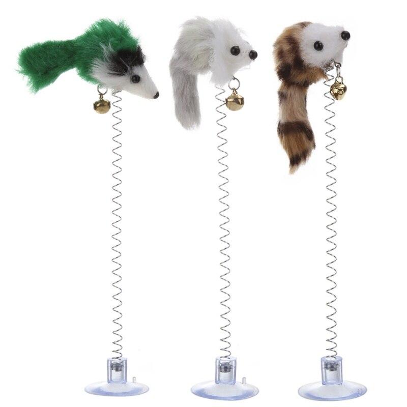 3Pcs Funny Cat Toys Elastic Feather False Mouse Bottom Sucker Toys for Cat Pet cat sucker mouse toy Random Color