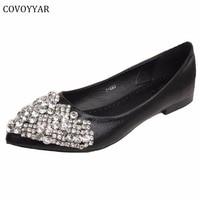 Elegant Rhinestone Women Shoes Pointed Toe Women S Ballet Flats 2016 Comfort Women Loafers Spring Fall