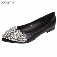 Elegant Rhinestone Women Shoes Pointed Toe Women's Ballet Flats 2018 Comfort Women Loafers Spring Fall Slip On Size 34-43 WFS203