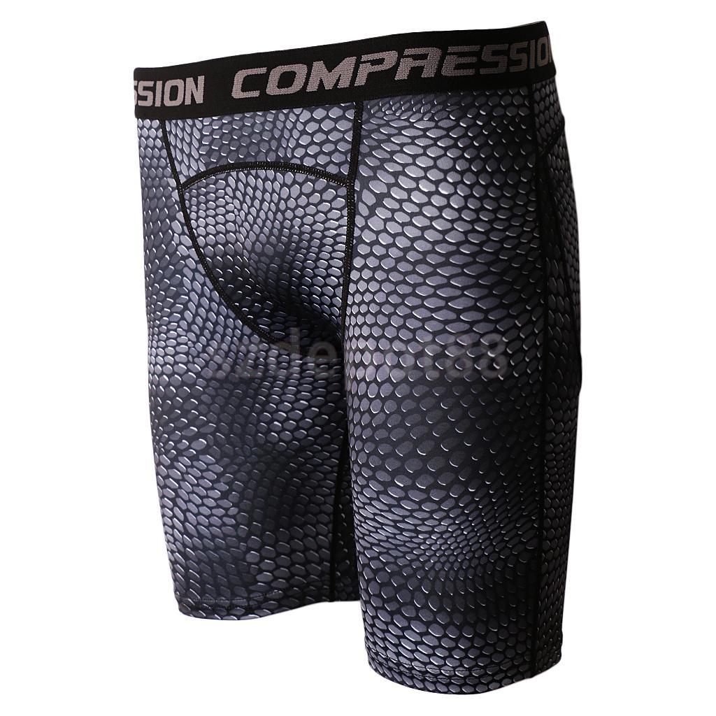 Gray Comfortable Fitness Men Bodybuilding Compression Tights Base Layer Short Pants Shor ...