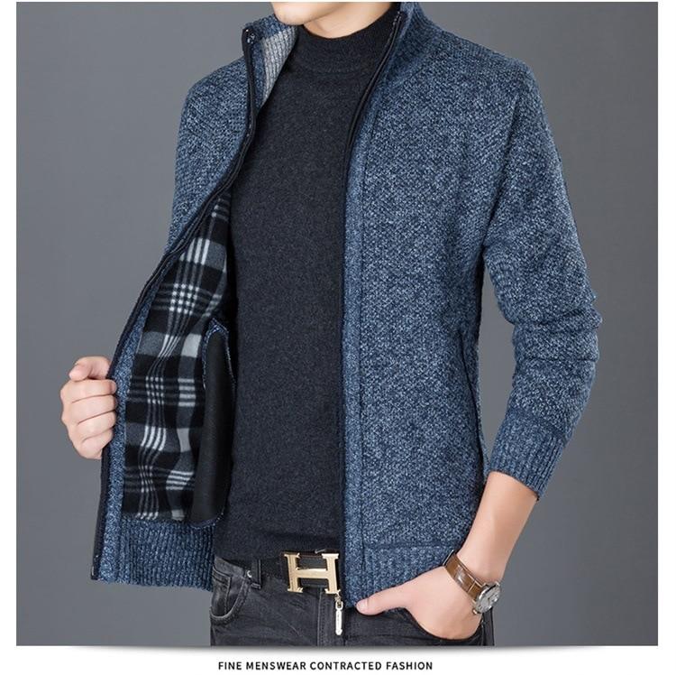 HTB1652BX0fvK1RjSszhq6AcGFXa4 Fashion Wind Breaker Jackets Men Stand Collar Thicken Fleece Jacket Solid Knit Overcoat Cardigan Male Coat Brand Men's Clothing
