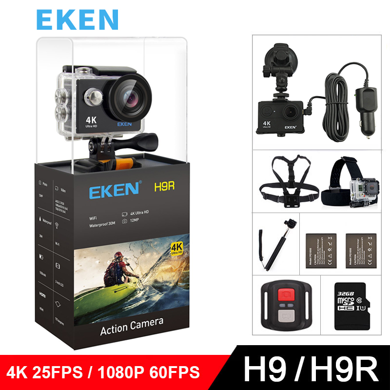 "EKEN H9 H9R Original Action camera Ultra HD 4K 25fps 1080P 60fps WiFi 2.0"" 170D mini go underwater waterproof Helmet Sport cam"