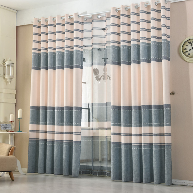 Linen Stripe Kitchen Curtains: FYFUYOUFY Modern Simple Cotton Linen Transverse Stripe