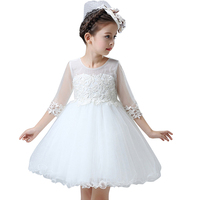 Princess Kids Summer Girl Dresses Lace Appliques Flower Girl Dresses Kids Birthday Party Dresses With Sash