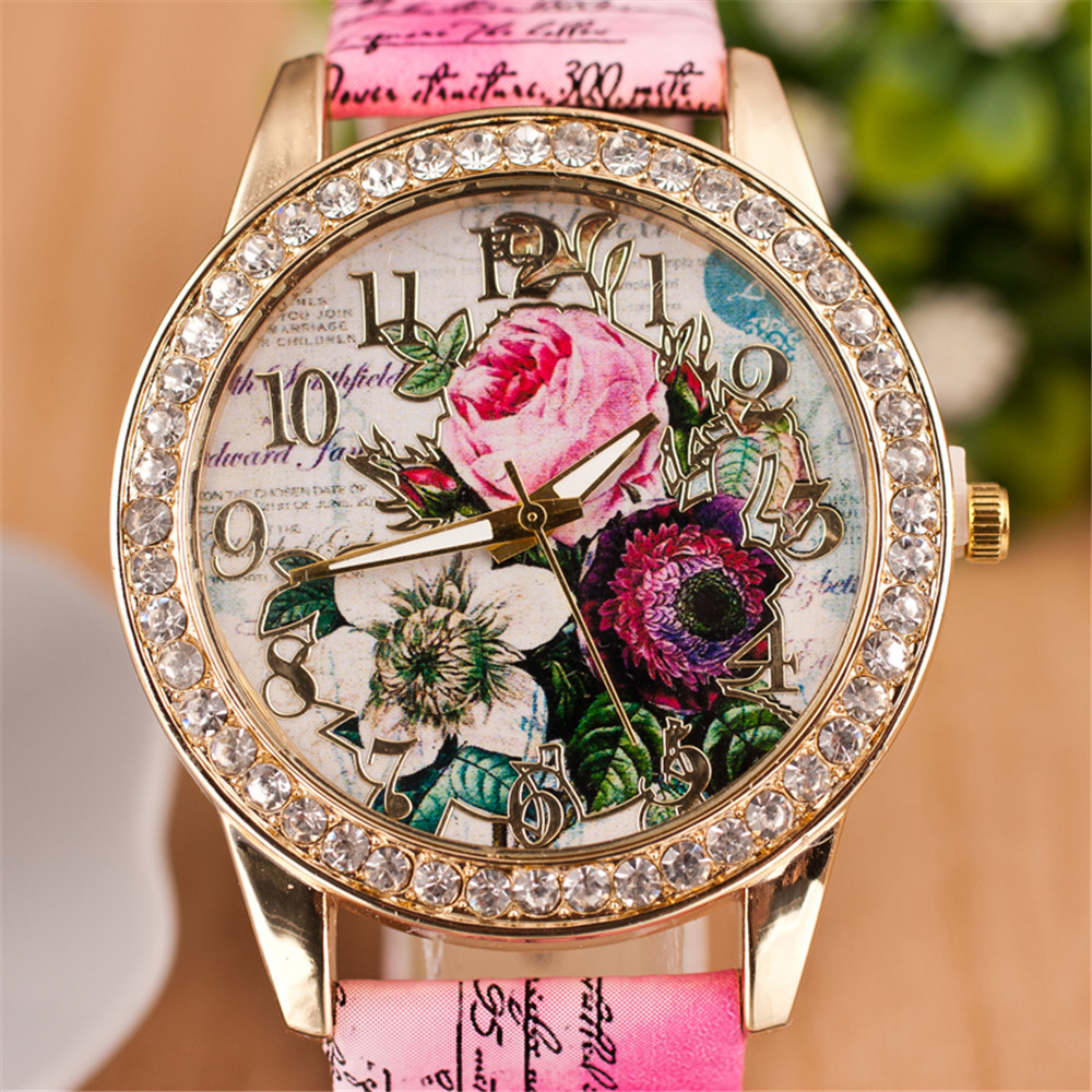 New Fashion Quartz Watch Chinese Flower Casual Women Bracelet Watch Reloj Mujer Relogio Feminino Clock Christmas Gift Watch