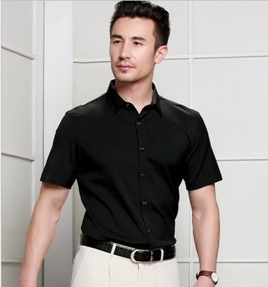 High-end brand men's business casual spring and summer mulberry silk pure color short sleeve shirt silk shirt 2019