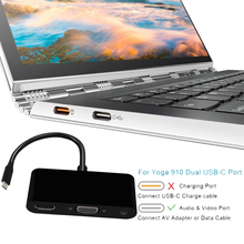 USB 3.1 ประเภท C ถึง HDMI (4K * 2 K) VGA 3.5 มม.เสียง Video Converter USB3.0 HUB อะแดปเตอร์จอแสดงผล Dock Extender HD 4K สำหรับ MACBook Pro