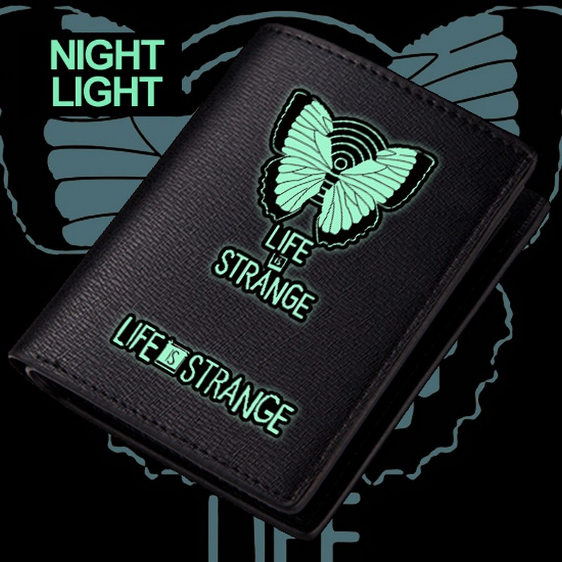 MeanCat Life is Strange Quality Black PU Wallet Gathering Storm PC Game Collection Folder Wallets with Night Light Function цена и фото