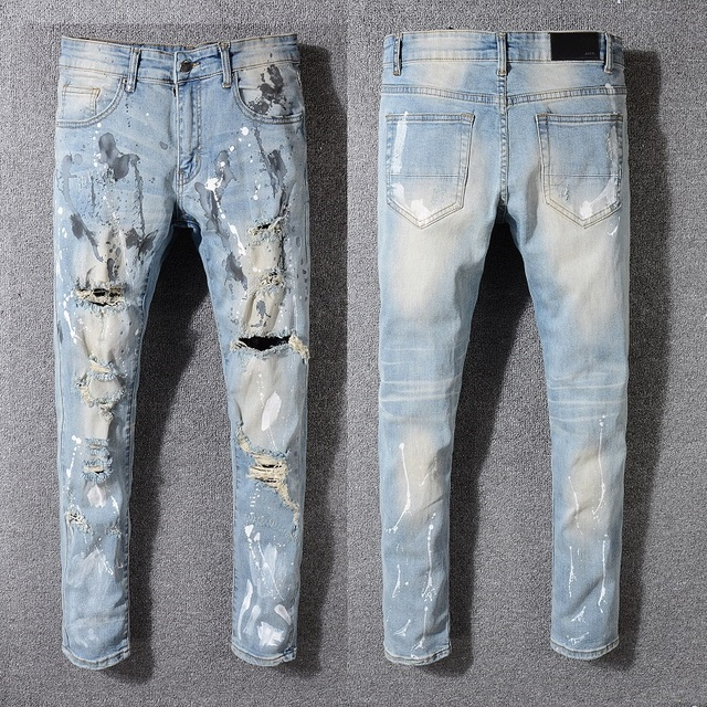 New Italy Style #530# Men's Painter Distressed Hollow Out Pants Flares Patches Blue Denim Skinny Jeans Slim Trousers Size 28-42