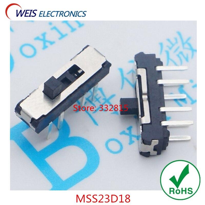 Переключатель MSS23D18, 20 шт., 8PIN, 2P3T, DPTT, переключатель, боковая ручка, 4 мм, ROHS, бесплатная доставка D.