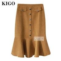 KIGO Autumn Winter Women Vintage High Waist Casual Slim Suede Leather Mermaid Pencil Skirt Elegant Bodycon