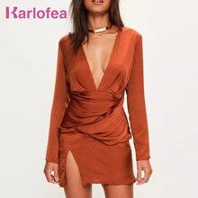 Karlofea New Spring Sexy Mini Dress Orange Partywear V-Neck Women's Fashion Dress Split Front Silky Long Sleeve Panelled Dress