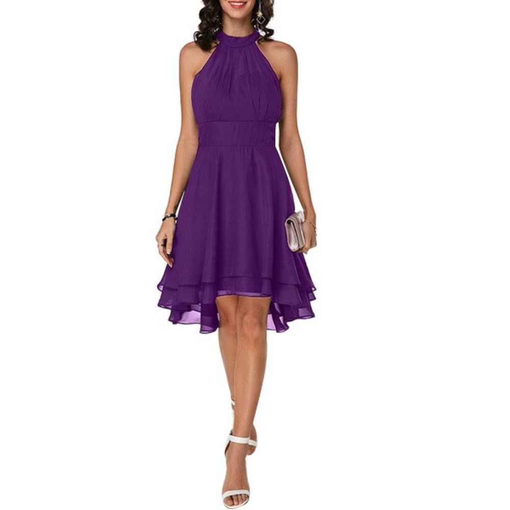 エレガントなドレスプラスサイズファッション女性ソフトホルターノースリーブ非対称裾ワンピース Ledies イブニングパーティーカジュアルスリムドレス