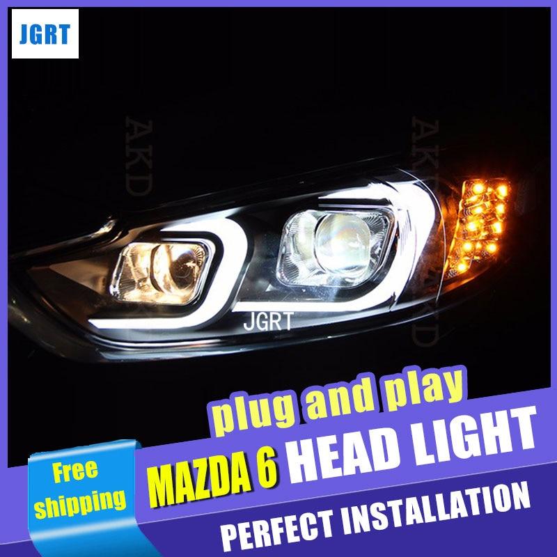 все цены на  Car Styling for Mazda6 Atenza LED Headlight Mazda 6 Headlights DRL Lens Double Beam H7 HID Xenon bi xenon lens  онлайн