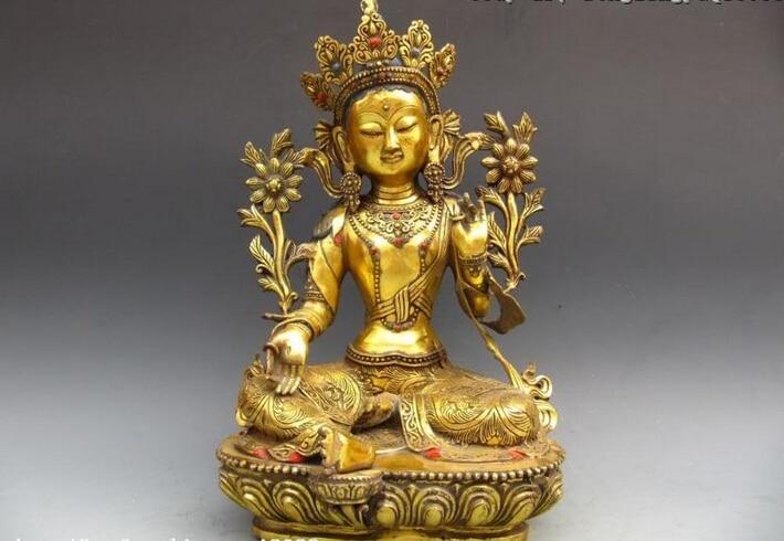 150401 S0510 Buddhism Bronze Gild lotus flower Green TaRa GuanYin Kwan-Yin Buddha Statue150401 S0510 Buddhism Bronze Gild lotus flower Green TaRa GuanYin Kwan-Yin Buddha Statue