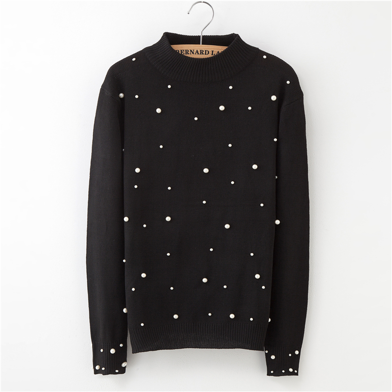 Winter Sweater Women Round Neck Pullover Fashion Casual Long Sleeve Solid Color Beaded Women's Sweaters 2018 European Streetwear