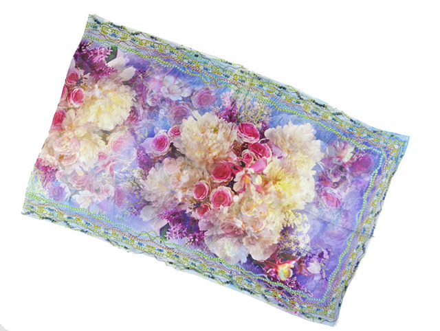 Purple Floral Silk Scarf   Lightweight Scarves   Up to 60% Off Now