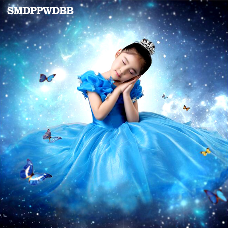 SMDPPWDBB Blue Girl Dresses Cinderella Costume Princess Party Dresses Girls Christmas Clothes Fresh Butterfly Dress For Kids 2015 new style movies cinderella princess dresses for kids nice blue princess dresses cinderella fancy costumes child s clothes
