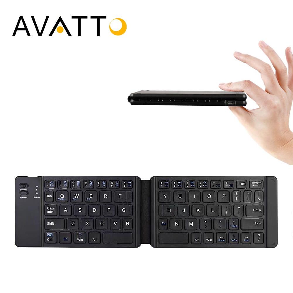 [AVATTO] ligero y práctico Bluetooth 3,0 plegable teclado plegable BT teclado inalámbrico para IOS/Android/Windows ipad Tablet teléfono
