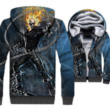 Ghost Rider Skull Flame Jacket Men 3D Hoodies Swag Sweatshirt 2018 Winter Fleece Zipper Coat Hip-Hop Sportsweat Brand Clothing