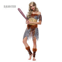DJGRSTER 2018 New Women S Leopard Print Native Indians Princess Of Tribe Role Playing Costume Indian