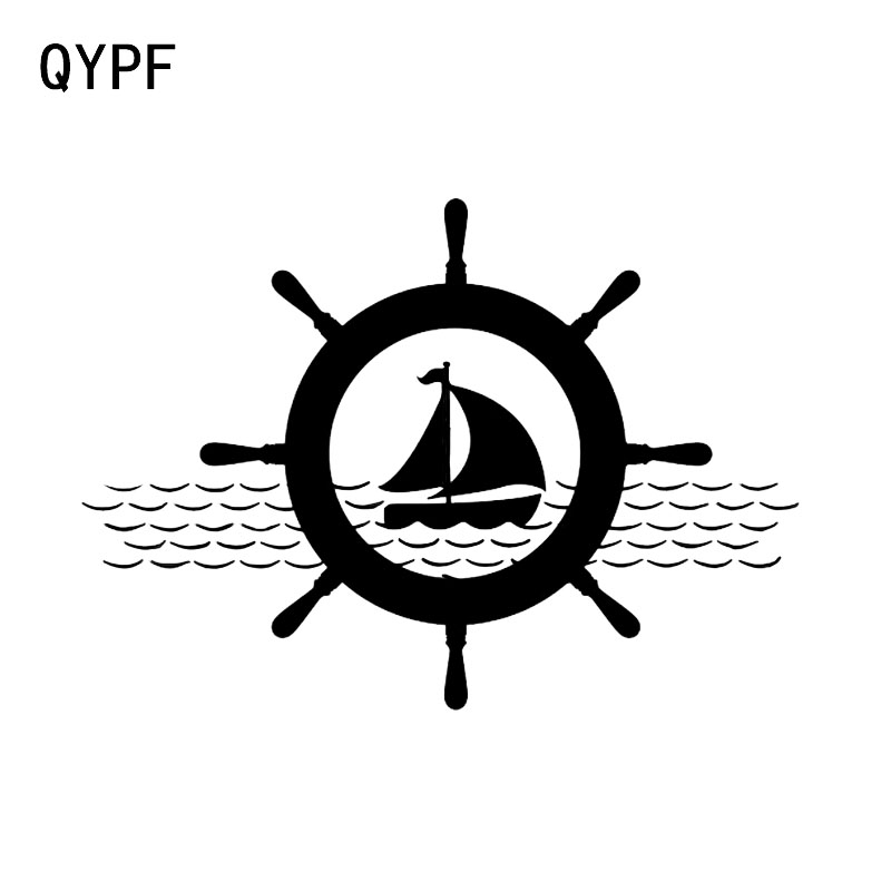 QYPF 15.6*11.1CM Sailing Ocean Sailor Decor Car Styling Sticker Black/Silver Vinyl C16-1084